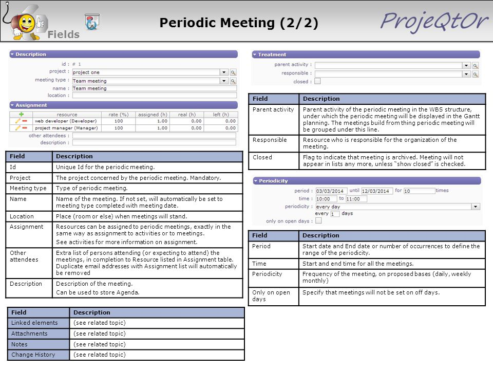 Periodic Meeting (2/2) Fields 111 111 111 111 111 Field Description