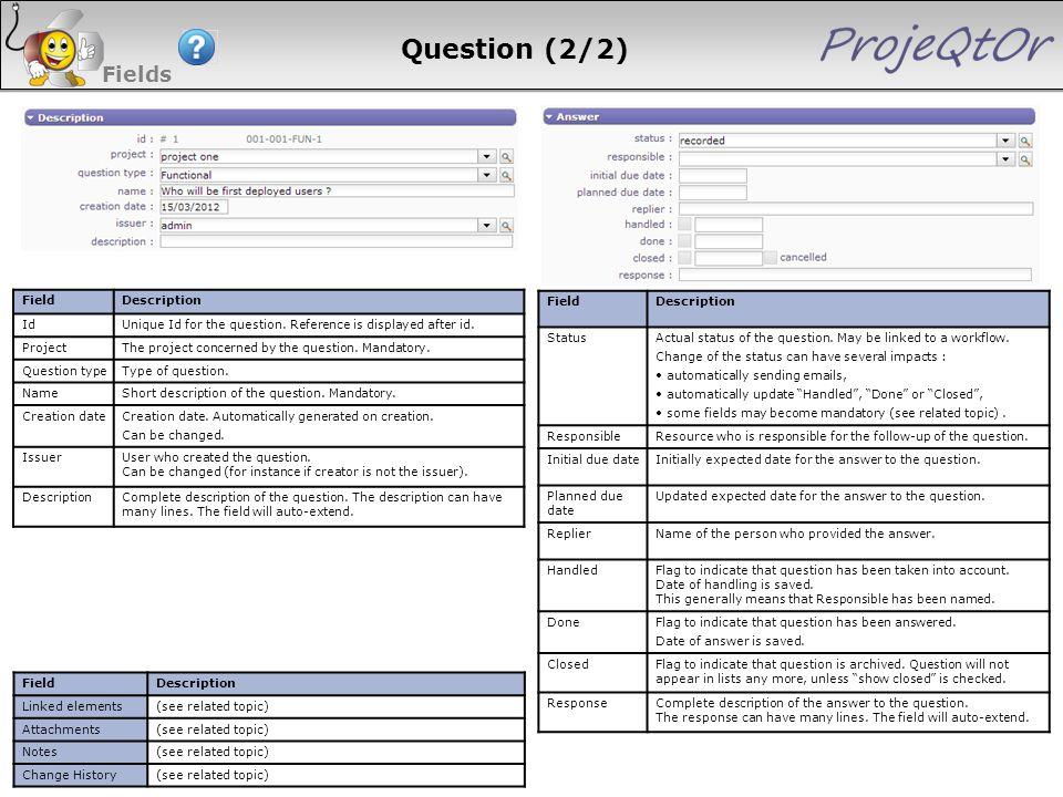 Question (2/2) Fields 115 115 115 115 Field Description Id