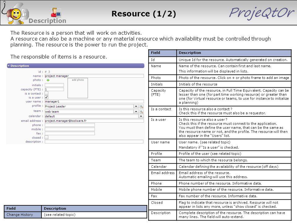Resource (1/2) Description