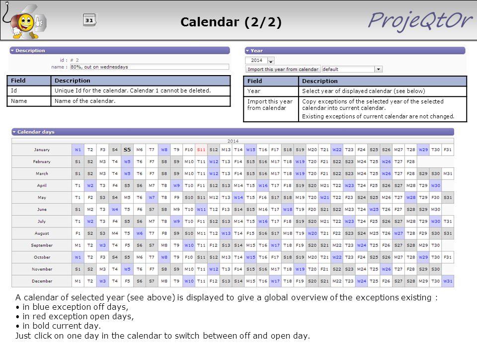 Calendar (2/2) Field. Description. Id. Unique Id for the calendar. Calendar 1 cannot be deleted.
