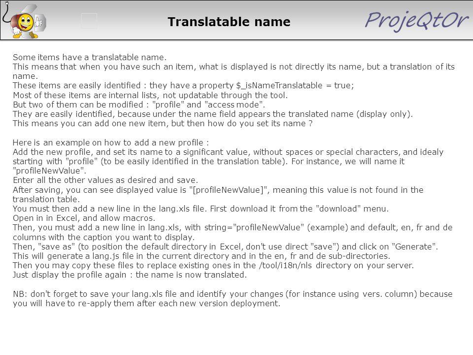 Translatable name
