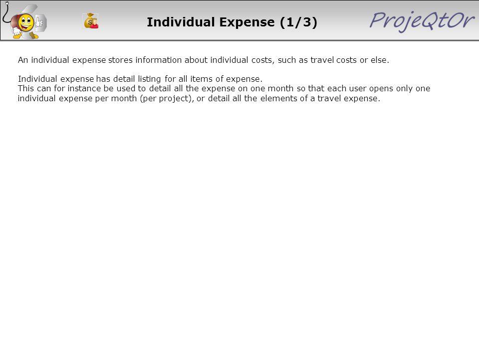 Individual Expense (1/3)