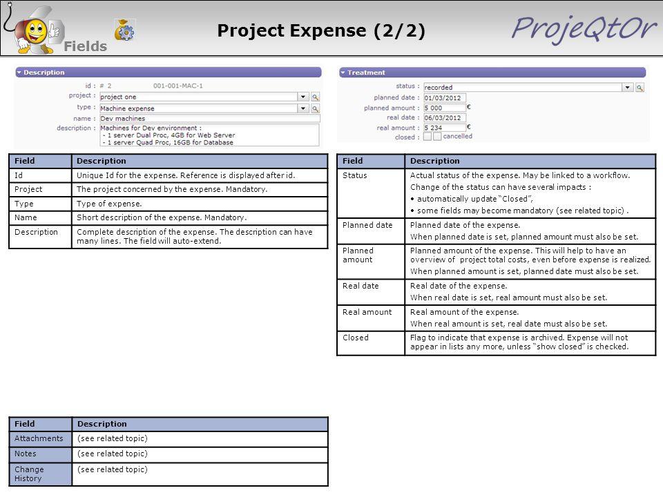 Project Expense (2/2) Fields Fields 95 95 95 95 Field Description Id