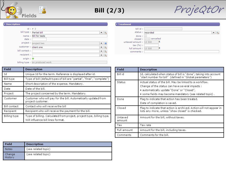 Bill (2/3) Fields Fields 99 99 99 99 Field Description Id