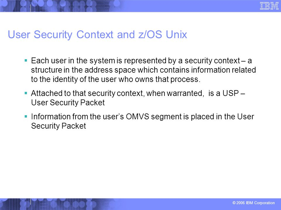 User Security Context and z/OS Unix