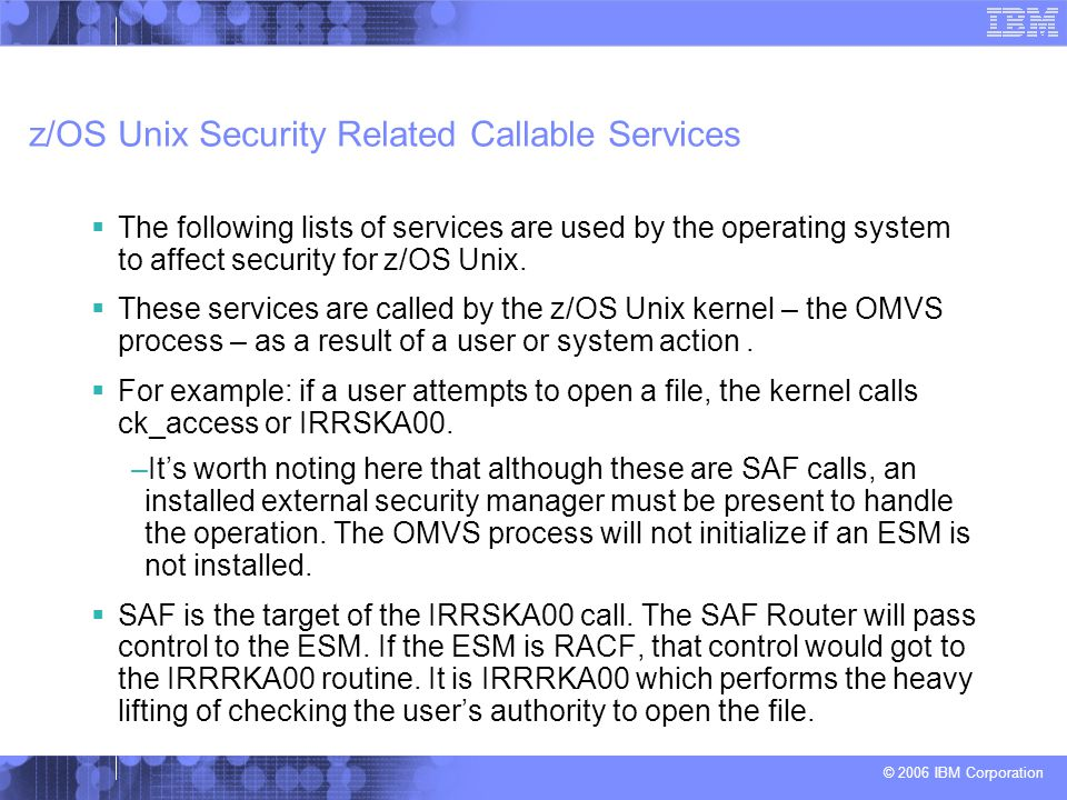 z/OS Unix Security Related Callable Services