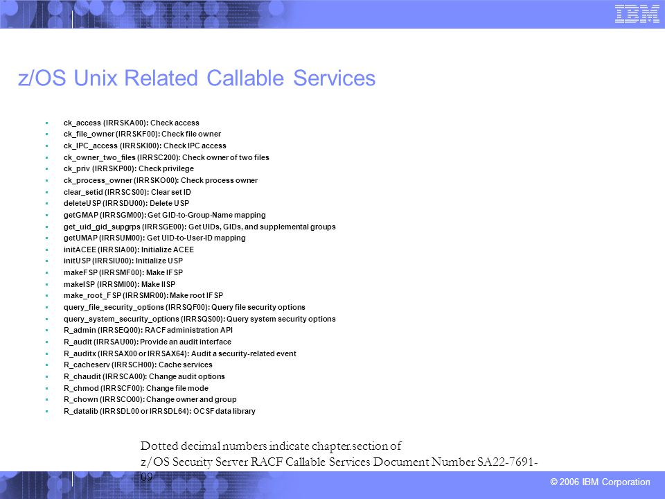 z/OS Unix Related Callable Services