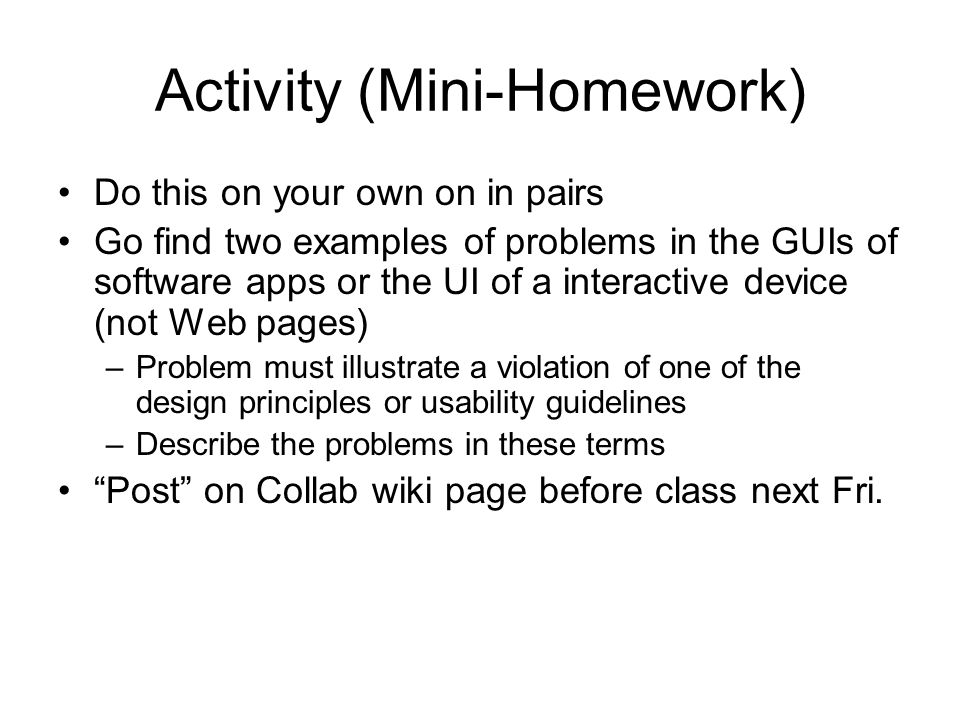 Activity (Mini-Homework)
