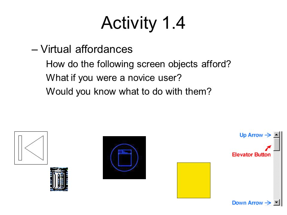 Activity 1.4 Virtual affordances