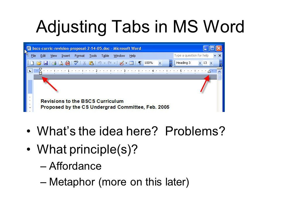 Adjusting Tabs in MS Word