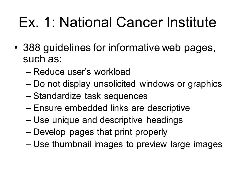 Ex. 1: National Cancer Institute