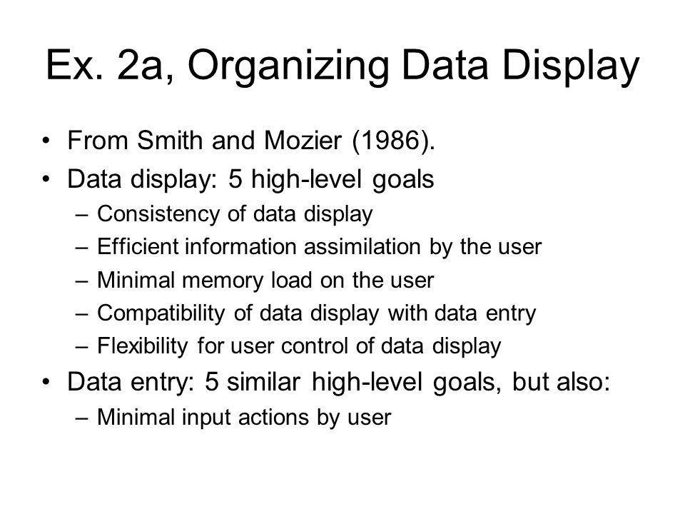 Ex. 2a, Organizing Data Display