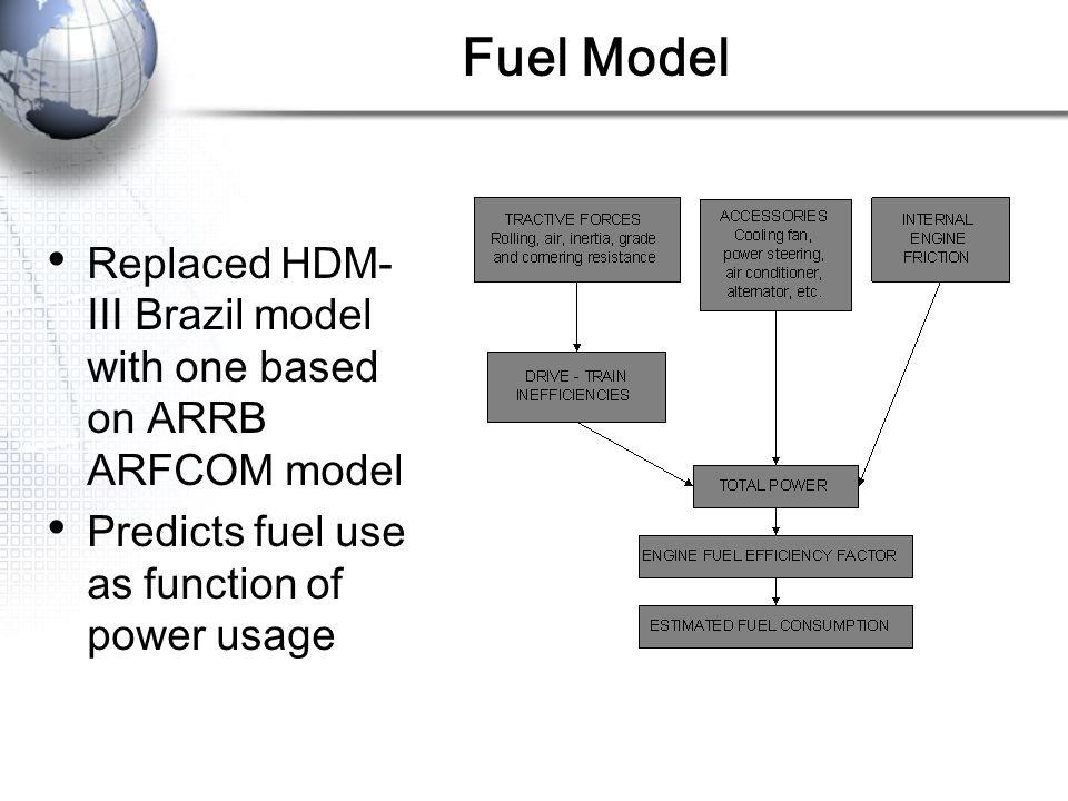 Fuel Model Replaced HDM-III Brazil model with one based on ARRB ARFCOM model. Predicts fuel use as function of power usage.