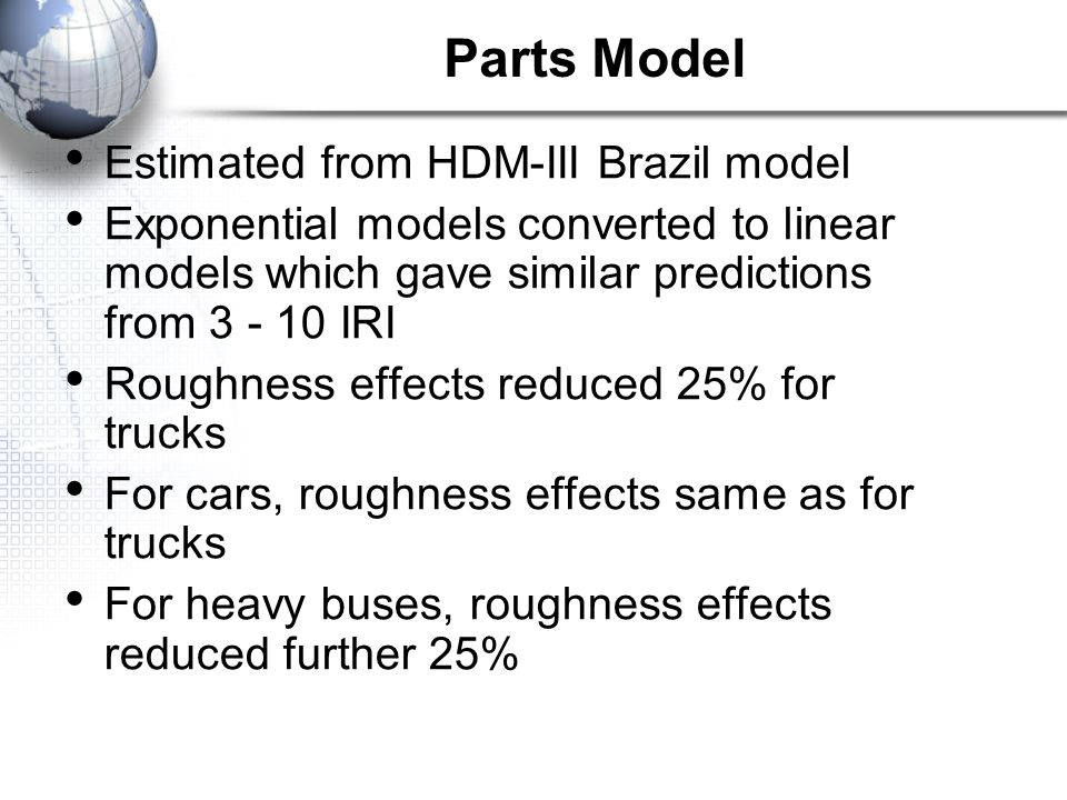 Parts Model Estimated from HDM-III Brazil model