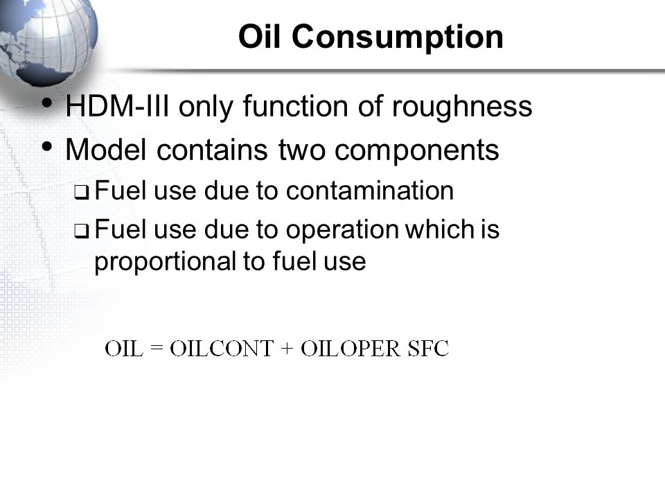 Oil Consumption HDM-III only function of roughness