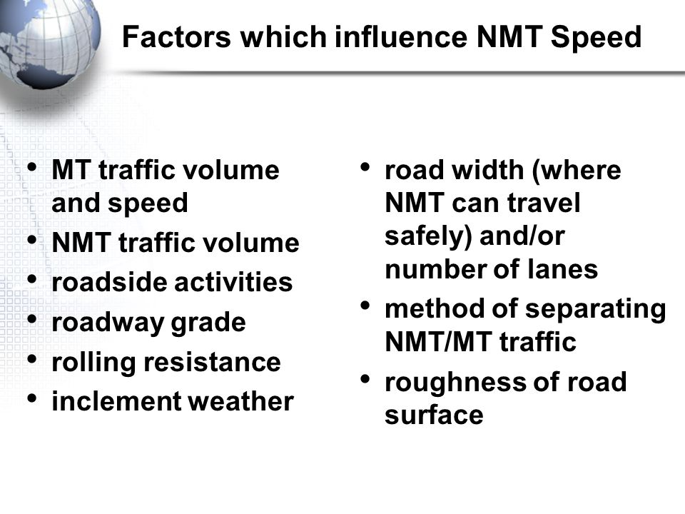 Factors which influence NMT Speed