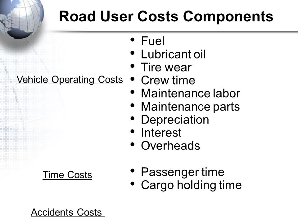 Road User Costs Components