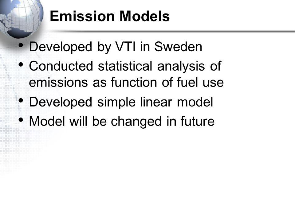 Emission Models Developed by VTI in Sweden