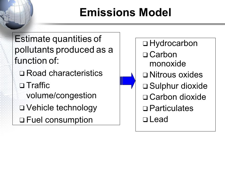 Emissions Model Estimate quantities of pollutants produced as a function of: Road characteristics.