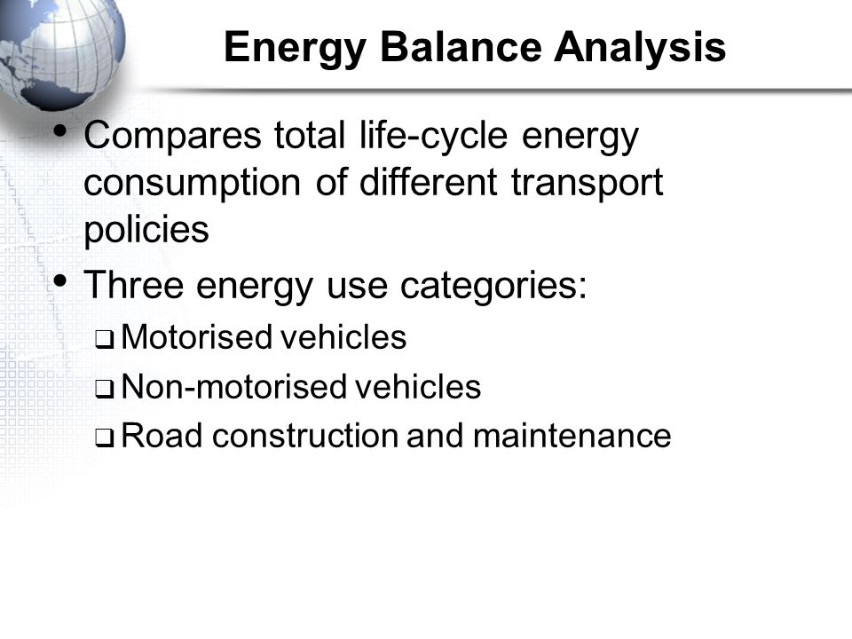 Energy Balance Analysis