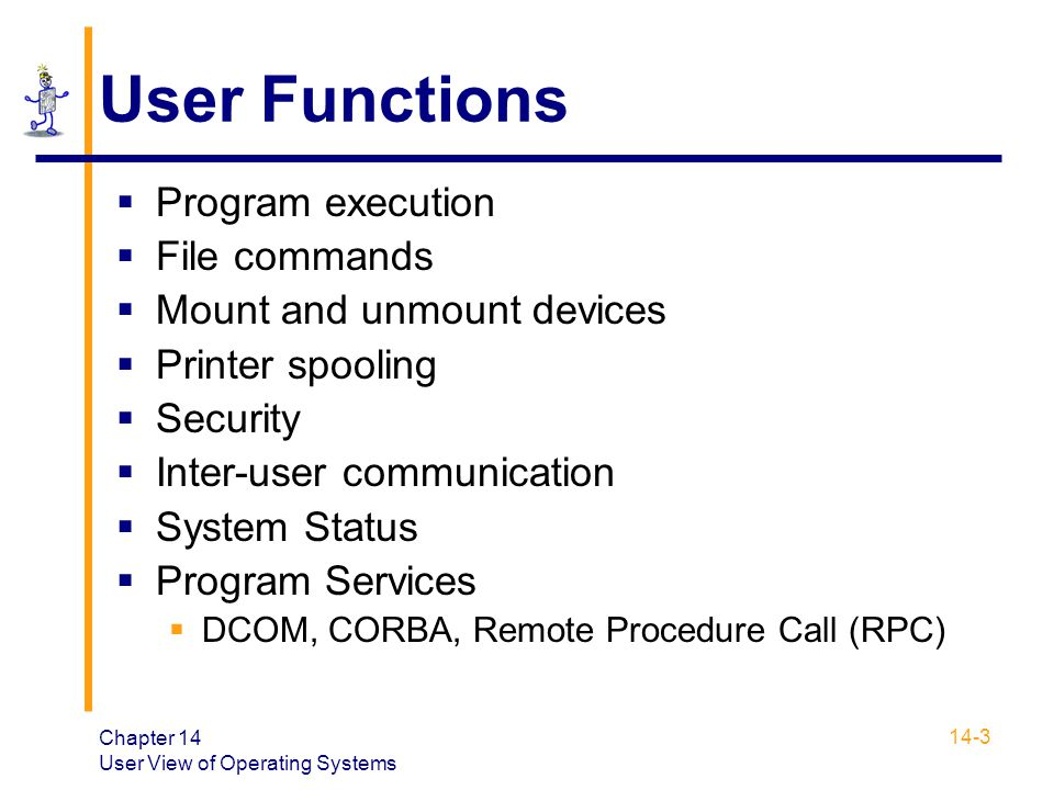 User Functions Program execution File commands