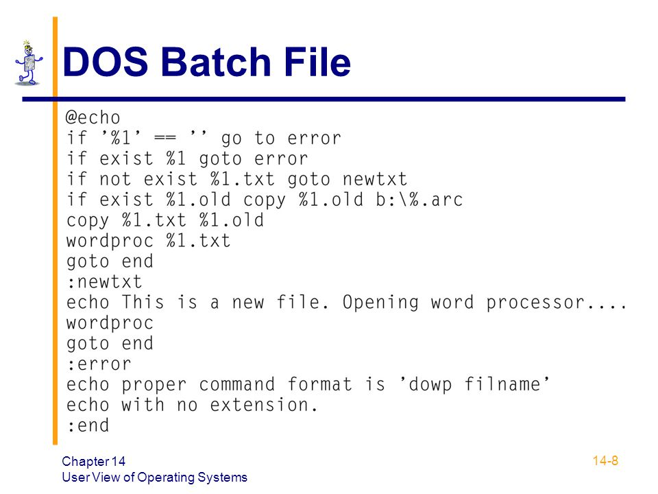 DOS Batch File Chapter 14 User View of Operating Systems