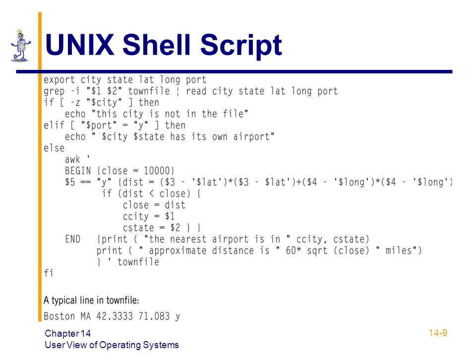 UNIX Shell Script Chapter 14 User View of Operating Systems