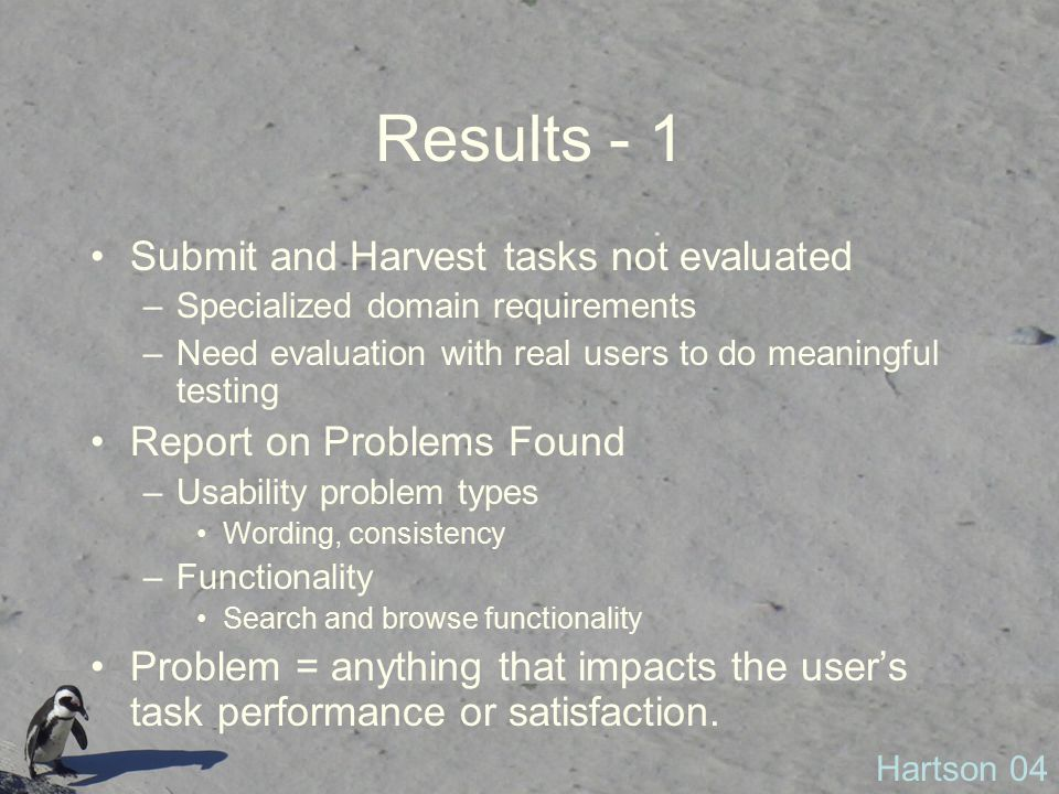 Results - 1 Submit and Harvest tasks not evaluated