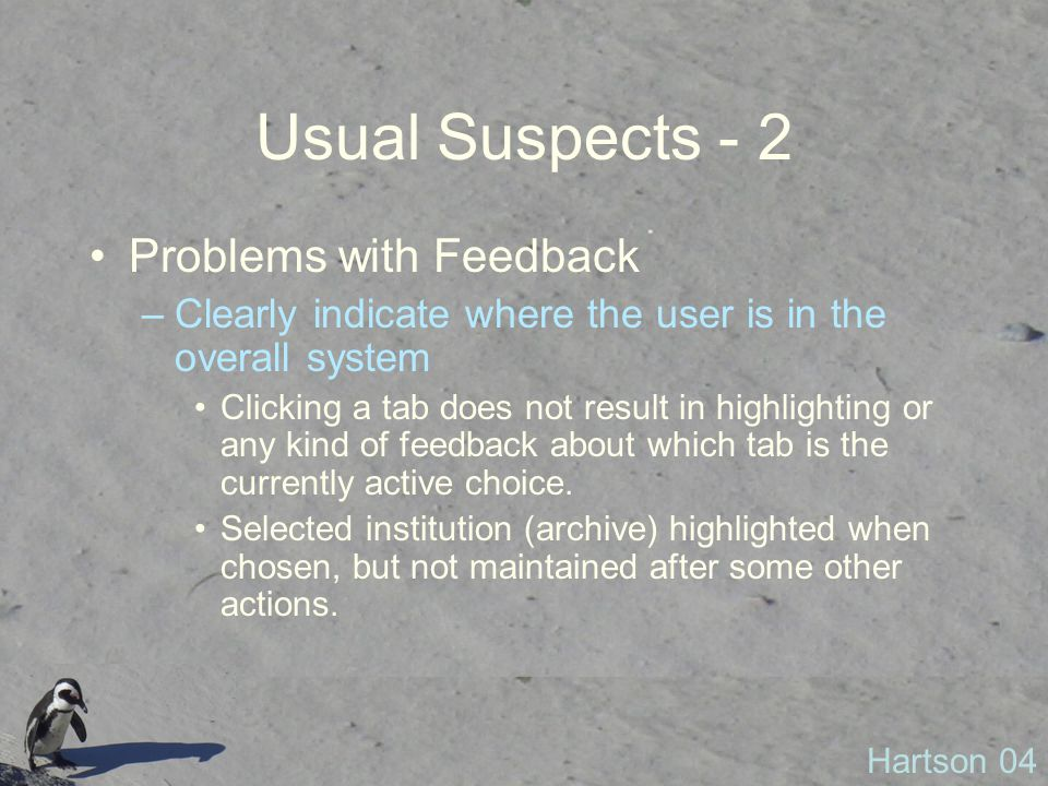 Usual Suspects - 2 Problems with Feedback