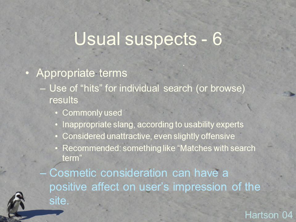 Usual suspects - 6 Appropriate terms