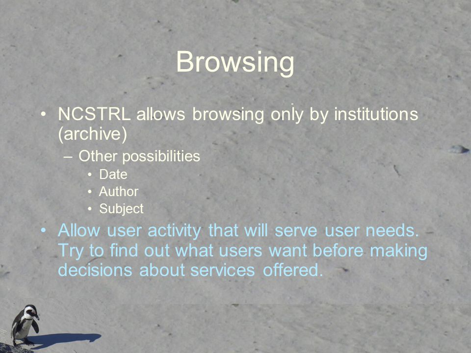 Browsing NCSTRL allows browsing only by institutions (archive)
