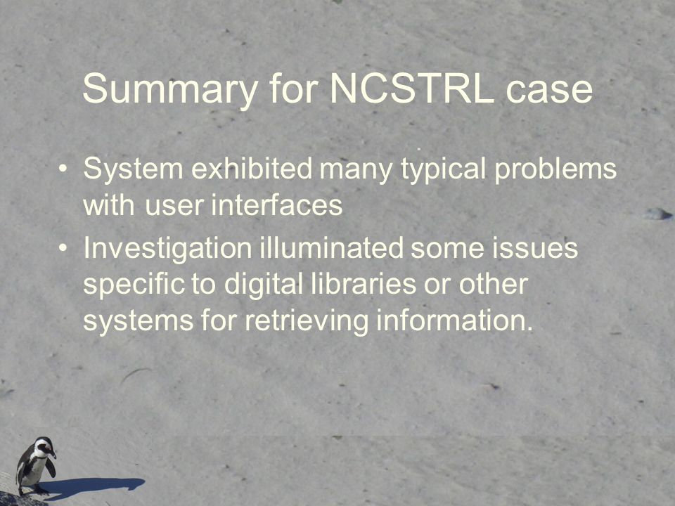 Summary for NCSTRL case