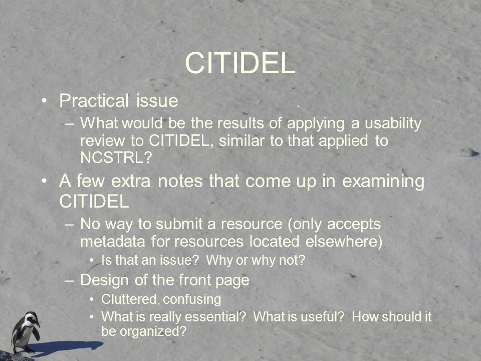 CITIDEL Practical issue