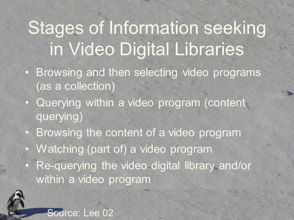Stages of Information seeking in Video Digital Libraries