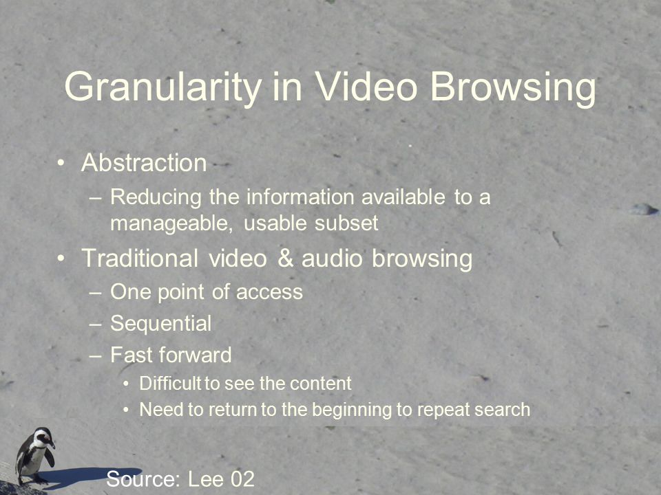 Granularity in Video Browsing