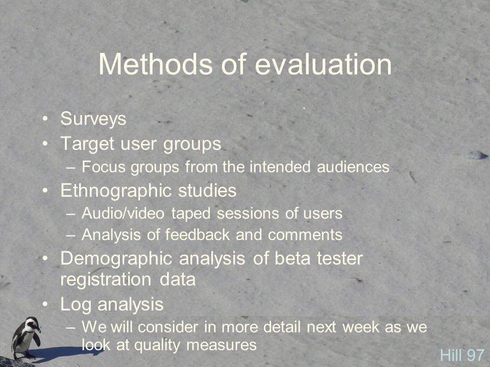 Methods of evaluation Surveys Target user groups Ethnographic studies
