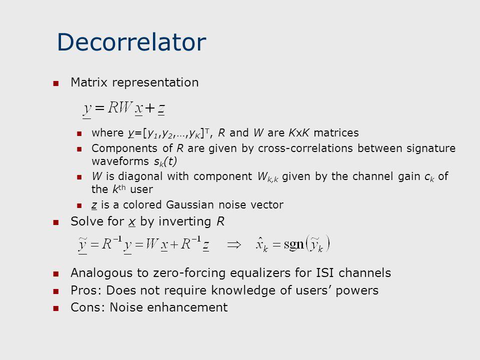 Decorrelator Matrix representation Solve for x by inverting R