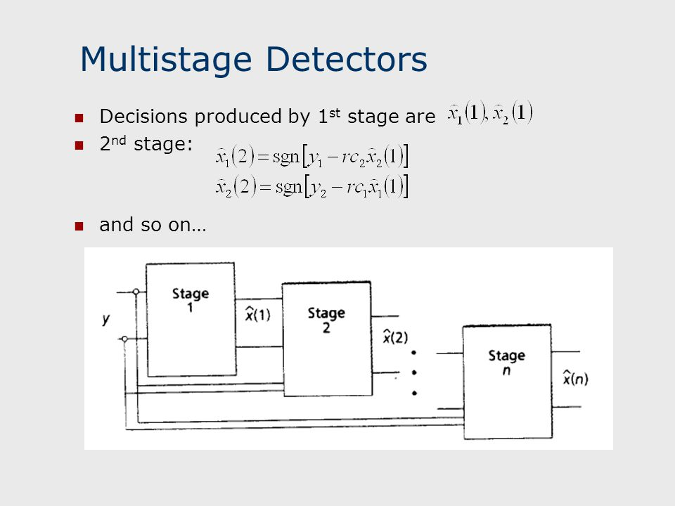 Multistage Detectors Decisions produced by 1st stage are 2nd stage: