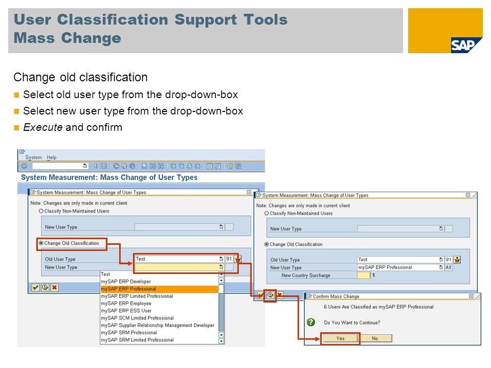 User Classification Support Tools Mass Change