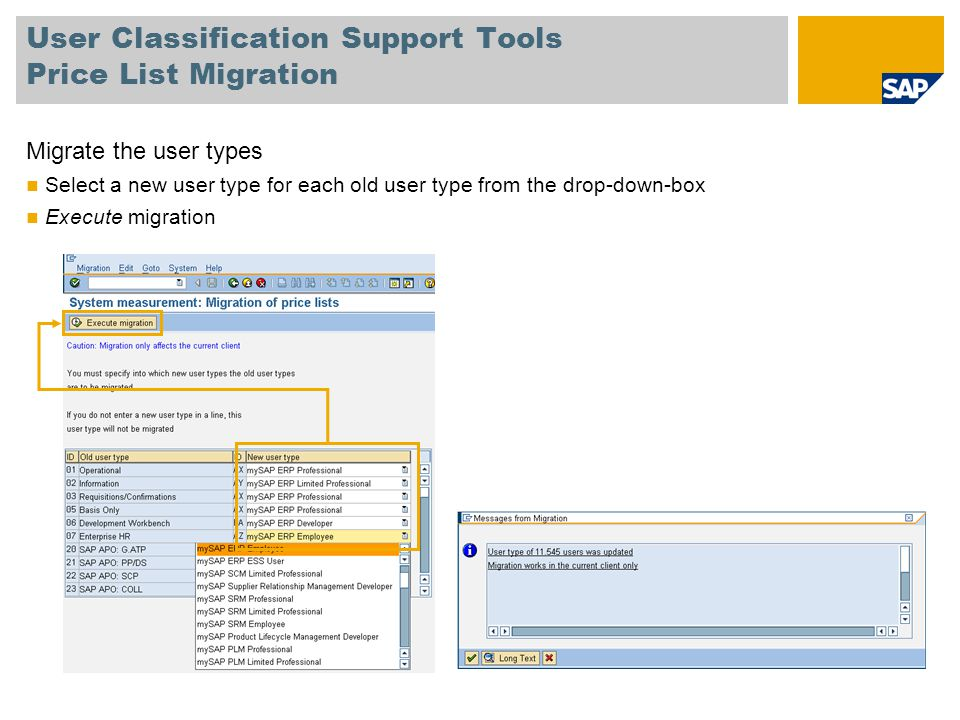 User Classification Support Tools Price List Migration