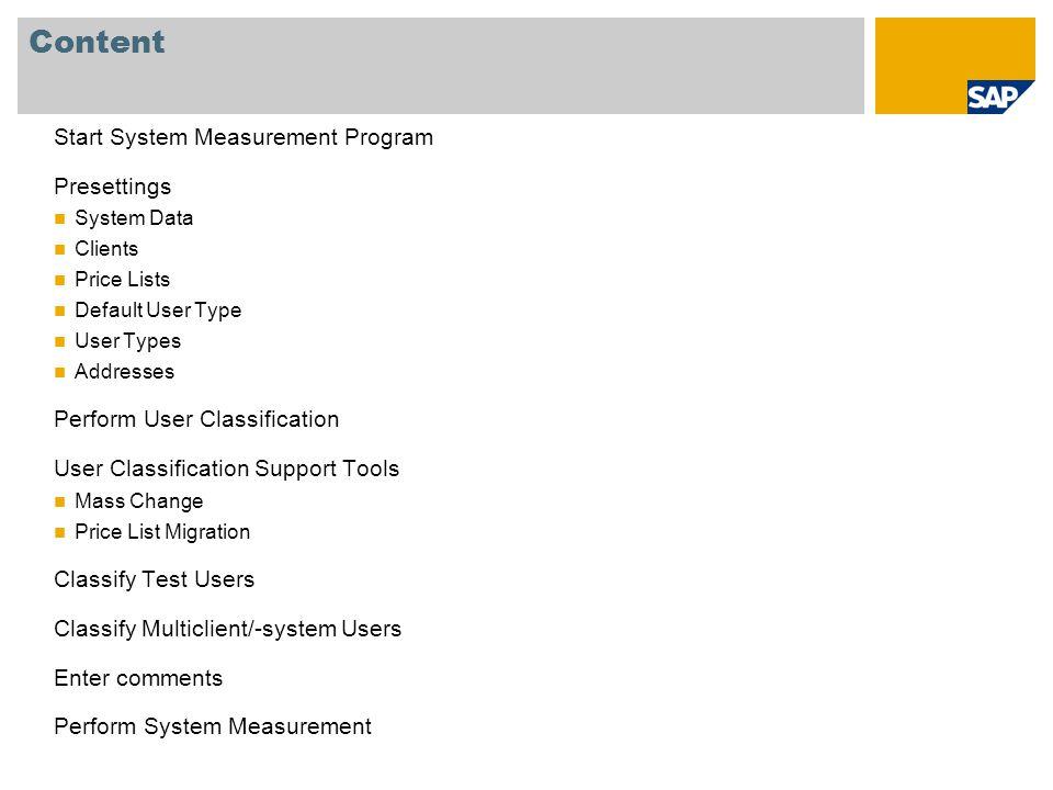 Content Start System Measurement Program Presettings