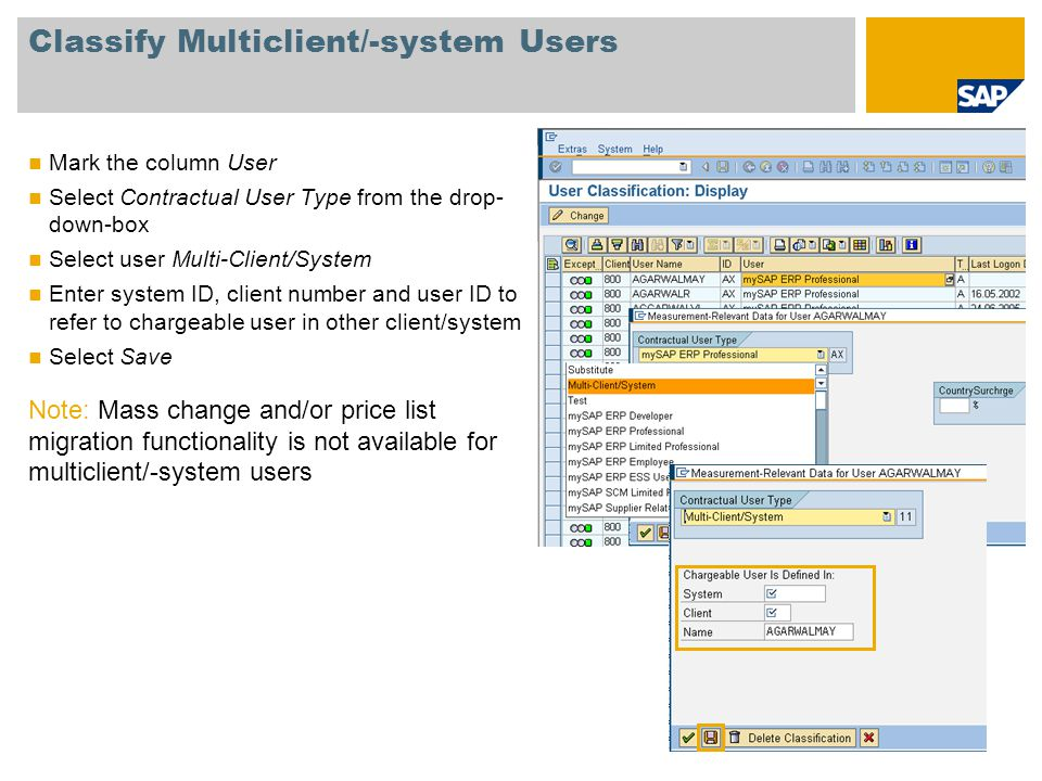 Classify Multiclient/-system Users