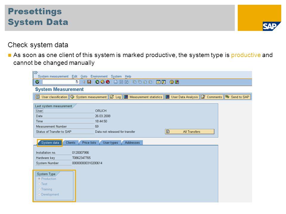 Presettings System Data