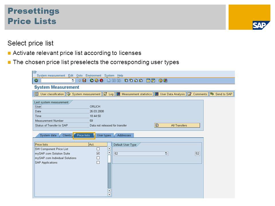 Presettings Price Lists