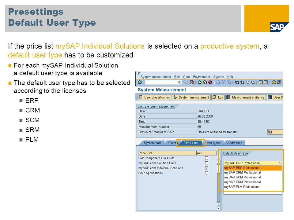 Presettings Default User Type