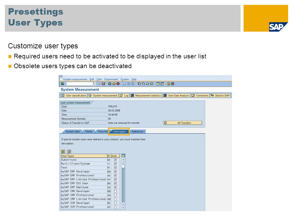 Presettings User Types