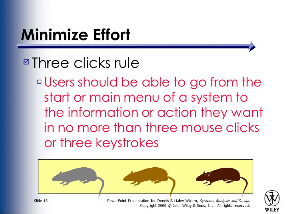 Minimize Effort Three clicks rule