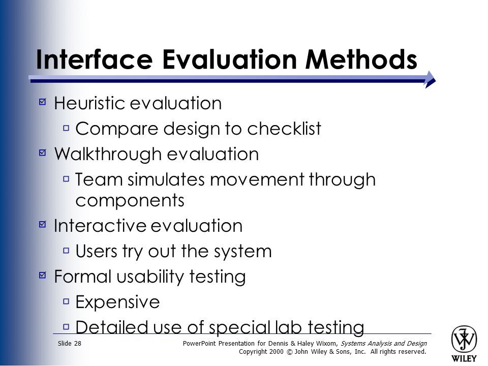 Interface Evaluation Methods