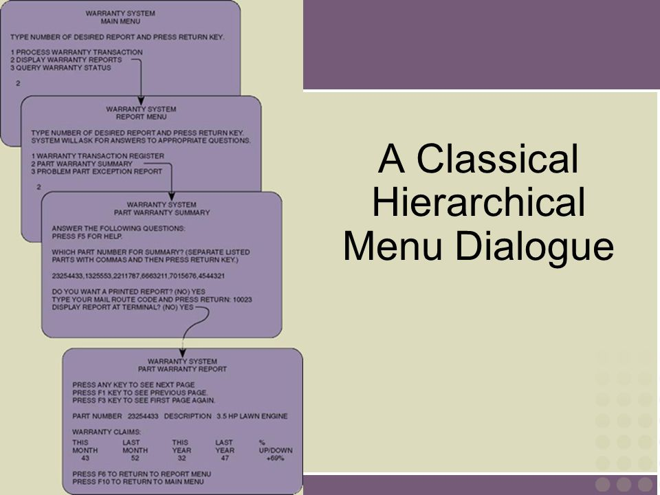 A Classical Hierarchical Menu Dialogue