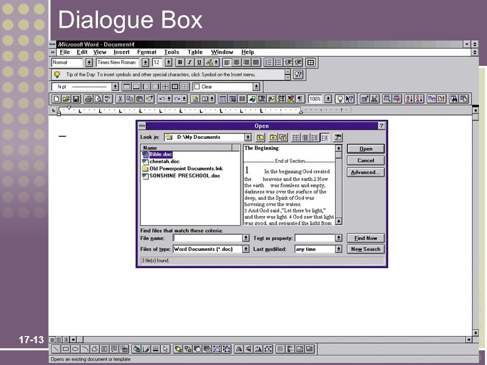 Dialogue Box No additional notes. Chapter 17 – User Interface Design